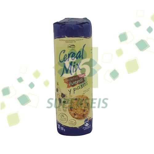 Foto GALLETITA CEREAL MIX AVENA/PASAS 25X180GR ARCOR PAQUETE  de
