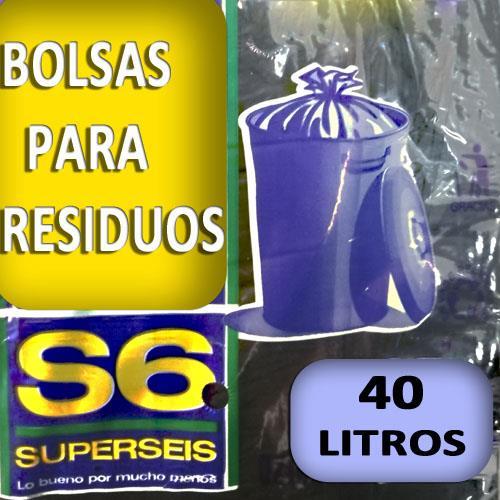 Foto BOLSA SUPERSEIS PARA RESIDUO EXTRA 40 LT de