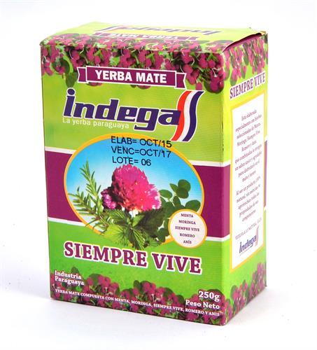 Foto YERBA MATE SIEMPRE VIVE 250GR INDEGA CAJA  de