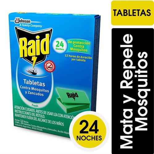 Foto TABLETAS PARA MOSQUITOS Y SANCUDOS FRESH 24 UNIDADES RAID CAJA de