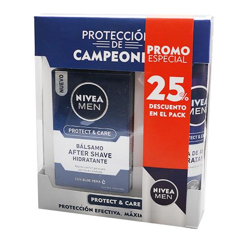 Foto BALSAMO AFTER SHAVE 100ML/ESPUMA D/AFEIT 200ML PROTECT CARE NIVEA PACK 25PORC DESC de