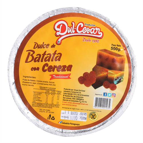 Foto DULCE DE BATATA C/CEREZA DULCESAR 500GR de