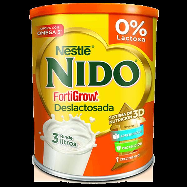 LECHE E/POLVO FORTIGROW DESLACTOSADA 400GR NIDO LATA