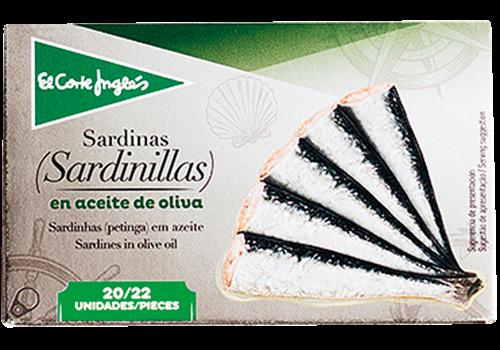 Foto SARDINAS/SARDINILLAS EN ACEITE DE OLIVA 85GR EL CORTE INGLES LATA de