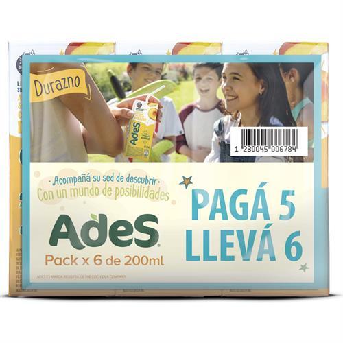 Foto JUGO LIQ DURAZNO 6UN X 200ML ADES 5PORC DESC PACK de