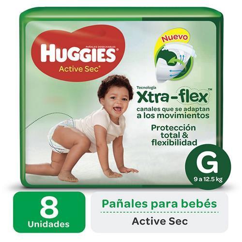 Foto HUGGIES XTRA-FLEX PAÑALES DESECHABLES TAMAÑO G 8 UNID. de
