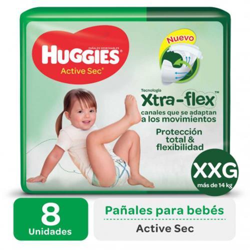 Foto PAÑALES DESECHABLES ACTIVE SEC XXG XTRA-FLEX HUGGIES 8 UNID. de
