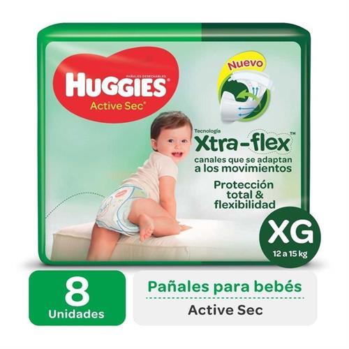 Foto PAÑALES DESECHABLES ACTIVE SEC XG XTRA-FLEX HUGGIES 8 UNID. de