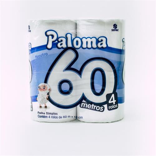 Foto PAPEL HIGIENICO PALOMA SUPER NEUTRO 60MT X 4 UNIDADES  de