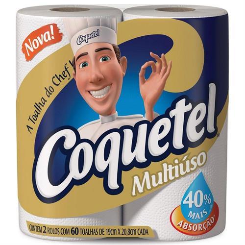 Foto COQUETEL TOALLA MULTIUSO 2 ROLLO DE  60 HOJAS C/U de
