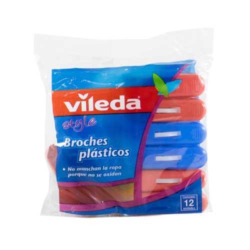 Foto BROCHES PLASTICOS 12 UNIDADES VILEDA PAQ de